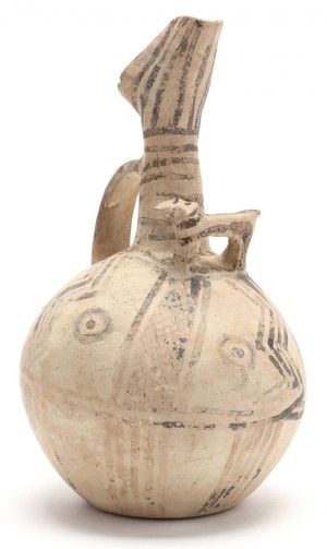 White Painted jug with bull