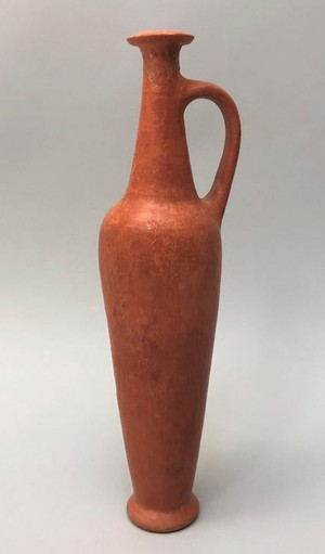Red Lustrous Wheelmade Ware Spindle Bottle 2