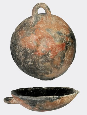 shallow Red Black mottled bowl