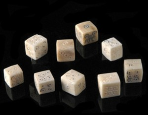 bone gaming dice