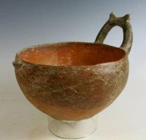 bowl with horned handle