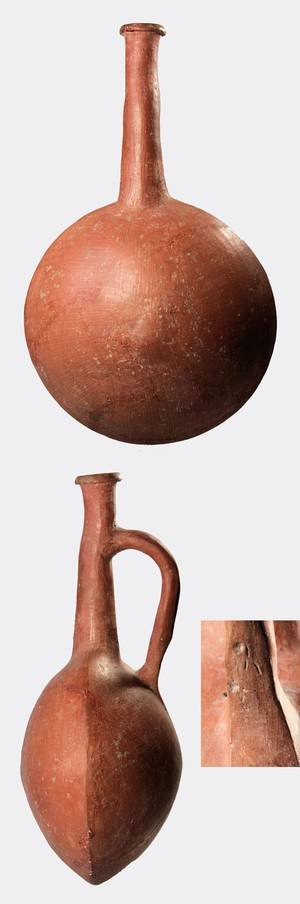 Red Lustrous Wheelmade Ware lentoid flask