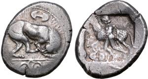Marion silver Siglos coin, King Sasmas