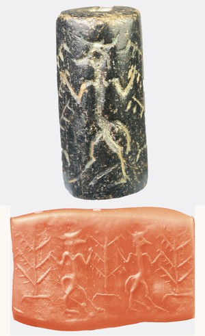 Cylinder seal with bull headed figures